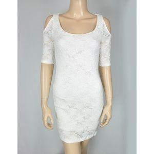 Lola White Lace Floral Cut Out Shoulder Bodycon Dr